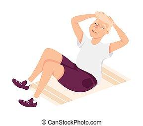 ilustração, crunches, malhação, desgaste, abdominal, físico, ginásio, jovem, exercício, atlético, macho, vetorial
