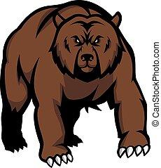 ilustração, desenho, urso