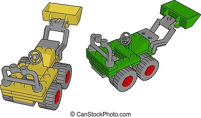 ilustração, escavador, amarela, experiência., vetorial, verde branco