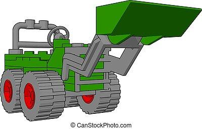 ilustração, escavador, experiência., vetorial, verde branco