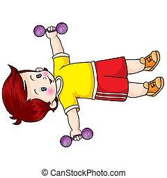 ilustração, exercícios, t-shirt, dumbbells, menino, objeto, branca, amarela, isolado, fundo, vetorial, dois