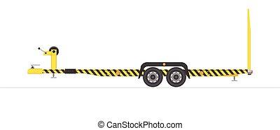 ilustração, experiência., branca, veículo, isolado, transportation., vetorial, reboque, car