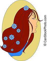 ilustração, experiência., vetorial, cabelo, menina, flores, branca