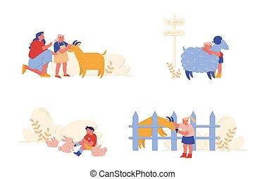 ilustração, gastar, sheep, agricultura, caráteres, crianças, cuidado, parents., pessoas, menina, doméstico, pequeno, vetorial, animais, coelhos, caricatura, crianças, menino, goat., weekend., acariciar, tempo, mãe, visita