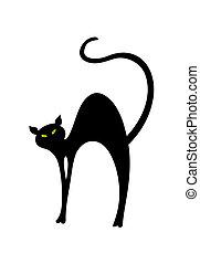 ilustração, gato, back., vetorial, pretas, curvado, tem