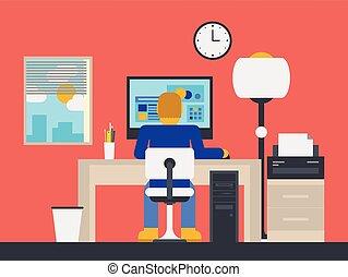 ilustração, gerente, trabalhando escritório