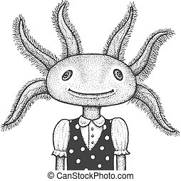 ilustração, gravura, axolotl