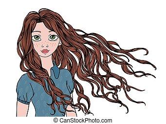 ilustração, isolado, longo, jovem, waving, vetorial, white., hair., retrato, menina, vento