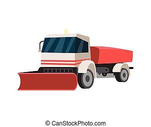 ilustração, isolated., apartamento, raspador, caminhão, snowblower, vetorial, snowplow, ou