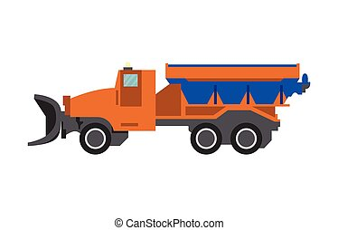 ilustração, isolated., neve, apartamento, caminhão, tipper, furgão, vetorial, arado, arado