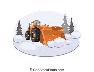 ilustração, isolated., neve, apartamento, veículo, caminhão, snowblower, vetorial, ou, arado