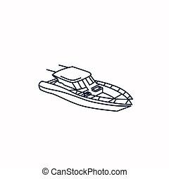 ilustração, linha, modernos, bote, arte, desenho, velocidade