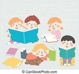 ilustração, livro, canto, sala aula, crianças