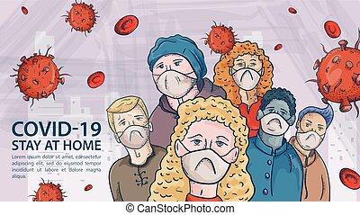 ilustração, máscaras, aviso, coronavirus, médico, vermelho, covind, moléculas, vírus, 2019-ncov, etiqueta, esboço, pessoas, cacho