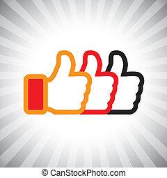 ilustração, mídia, conceito, semelhante, cima, graphic-, set., social, três, icons(symbol), mão, laranja, cores, vetorial, pretas, polegares, sinais, vermelho, mostra