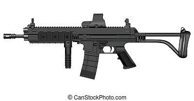 ilustração, metralhadora, xcr, vetorial