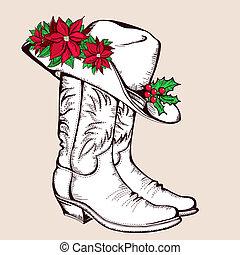 ilustração, natal, vetorial, gráfico, carregadores vaqueiro, hat.