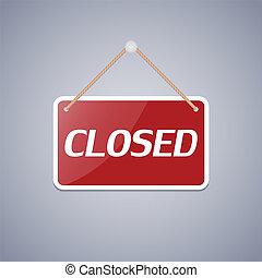 ilustração negócio, sinal, vetorial, fechado, design.