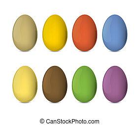 ilustração, ovos, eps10., coloridos, realístico, vetorial, páscoa, set.