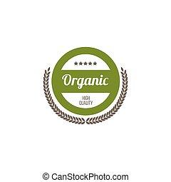ilustração, producao, etiqueta, orgânica, isolated., vetorial, alto, ou, emblema, qualidade