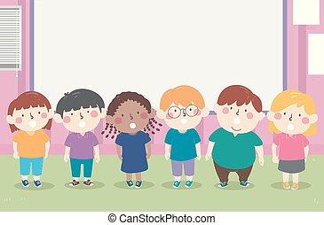 ilustração, recitation, crianças, choral, sala aula