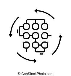 ilustração, símbolo., comunicação, linear, conceito, linha, ícone, vetorial, esboço, sinal, equipe