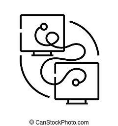 ilustração, símbolo., comunicação, linear, conceito, linha, ícone, vetorial, esboço, sinal, technic