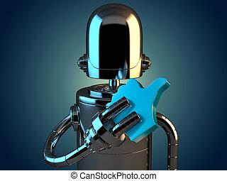 ilustração, símbolo., semelhante, robô, 3d