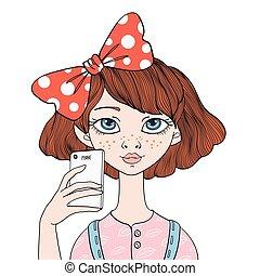 ilustração, selfie, isolado, jovem, vetorial, white., retrato, menina, faz, smartphone.