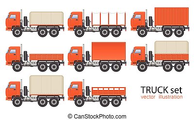 ilustração, transporte, vehicle., experiência., branca, isolado, vetorial, jogo, caminhão