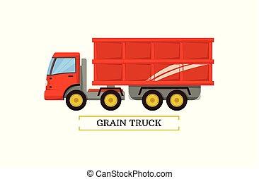 ilustração, vetorial, grão, maquinaria, caminhão, ícone