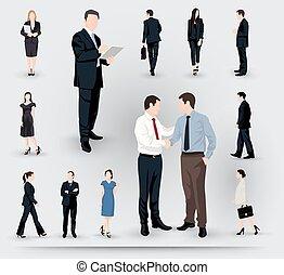 ilustrações, cobrança, pessoas negócio