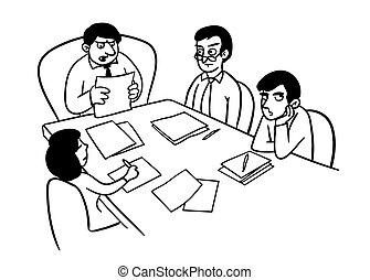 ilustrar, speaking., pessoas escritório, apresentação, tabela, diferente, caricatura, grupo, seu, como, reunião, sentando, drawing., saliência, escutar, caricatura, doodle., enfadonho, vetorial, equipe, gêneros