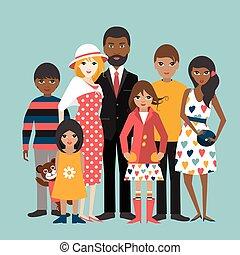ilustration, família, raça misturada, 5, vector., children., caricatura