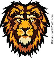 ima, cabeça, gráfico, leão, vetorial, mascote