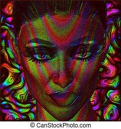 imagem, arte digital, rosto, mulher