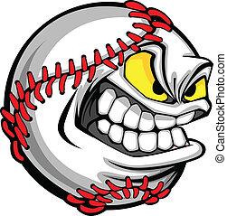 imagem, bola, basebol, caricatura, rosto