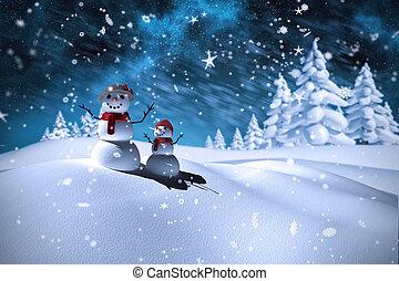 imagem composta, boneco neve, família