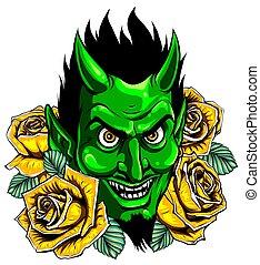 imagem, diabo, vetorial, ilustração, mascote, cabeça, demônio