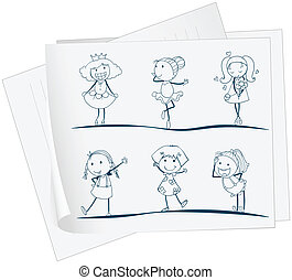 imagem, diferente, papel, meninas, seis, posições
