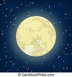 imagem, eps, lua, vetorial, 8, night.