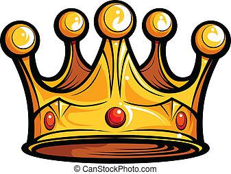 imagem, ou, realeza, vetorial, reis, caricatura, coroa