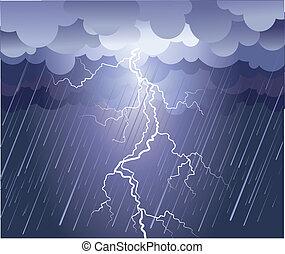imagem, strike., nuvens chuva, vetorial, escuro, relampago