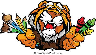 imagem, tiger, vetorial, mascote, caricatura, pré-escolar, feliz