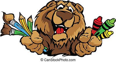 imagem, urso, vetorial, mascote, caricatura, pré-escolar, feliz