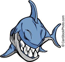 imagem, vetorial, mascote, caricatura, tubarão