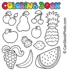 imagens, tinja livro, frutas