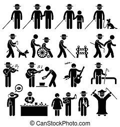 imagine homem, desvantagem, vara, cego