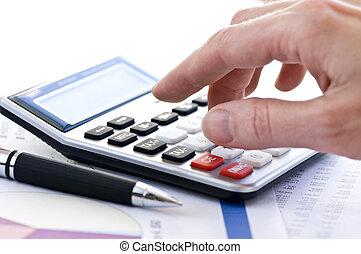 imposto, caneta, calculadora