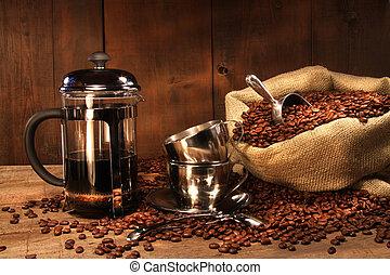 imprensa, feijões café, saco, francês